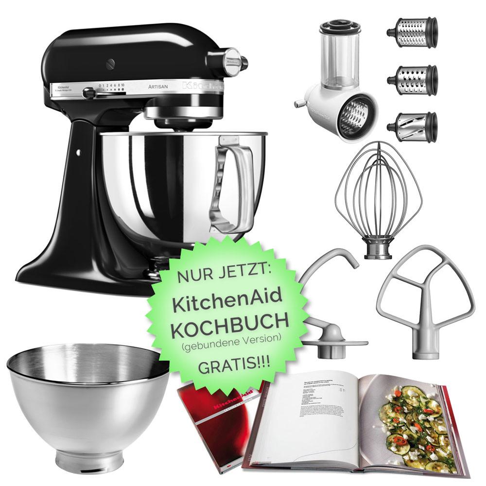 KitchenAid Küchenmaschine 125 Gemüseschneider Set Onyxblack schwarz mit Kochbuch