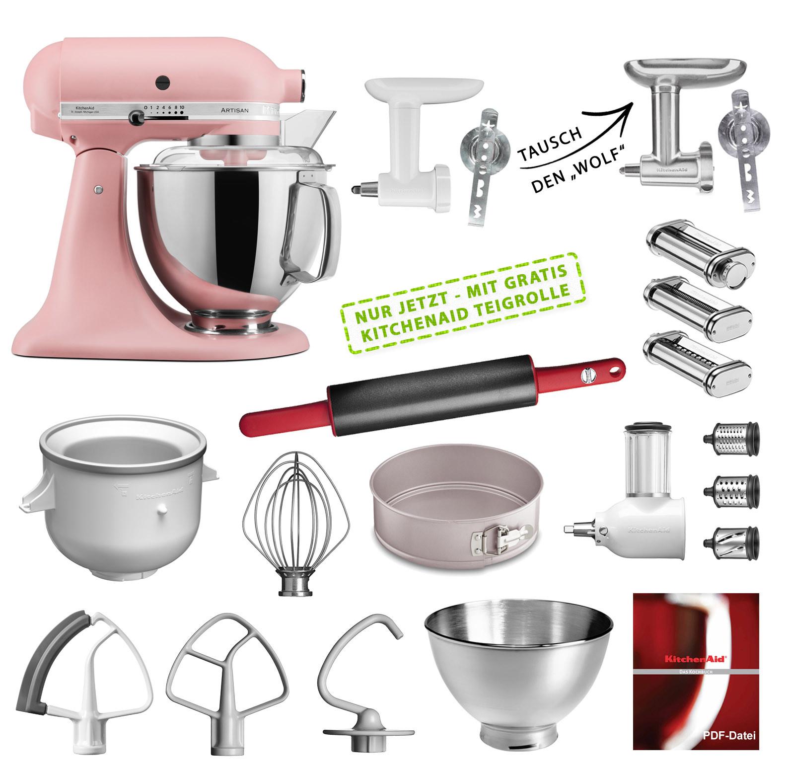 KitchenAid Küchenmaschine 175PS Mega-Paket altrosa