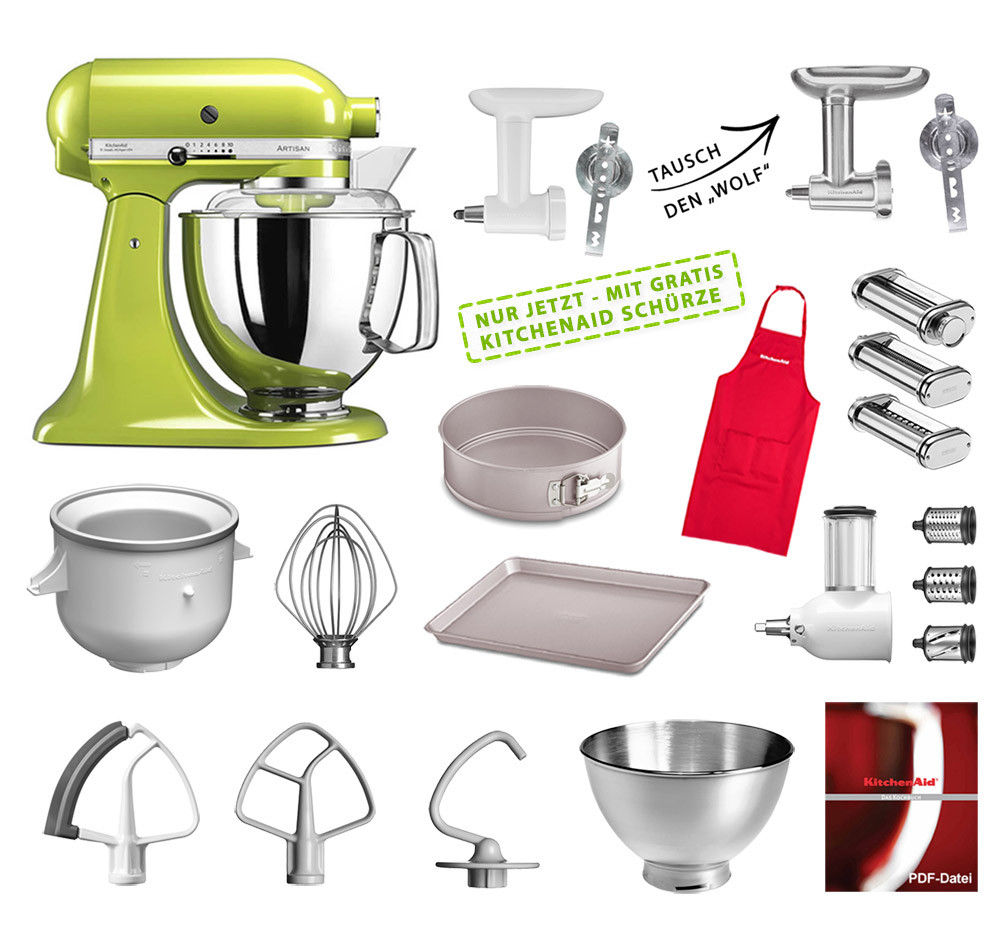 KitchenAid Artisan Küchenmaschine Mega-Paket apfelgrün NEU