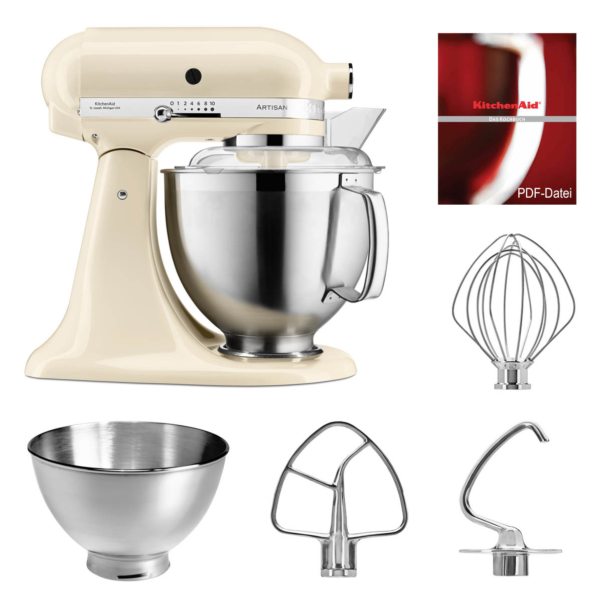 kitchenaid k chenmaschine 5ksm185ps creme. Black Bedroom Furniture Sets. Home Design Ideas