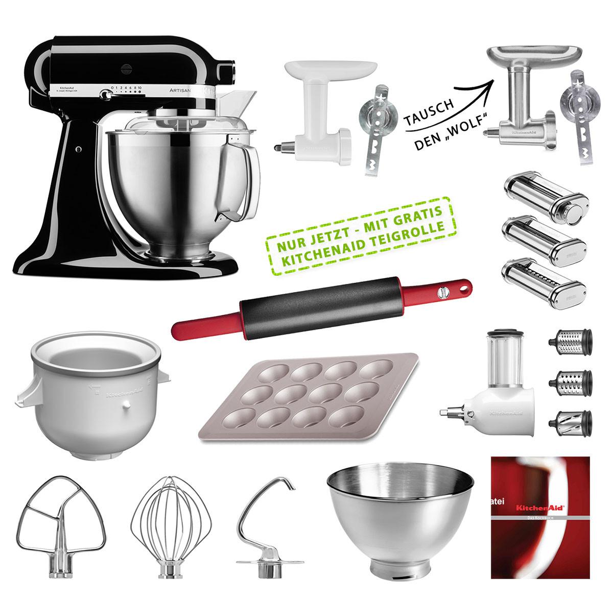 KitchenAid Küchenmaschine 185PS Mega-Paket onyx schwarz