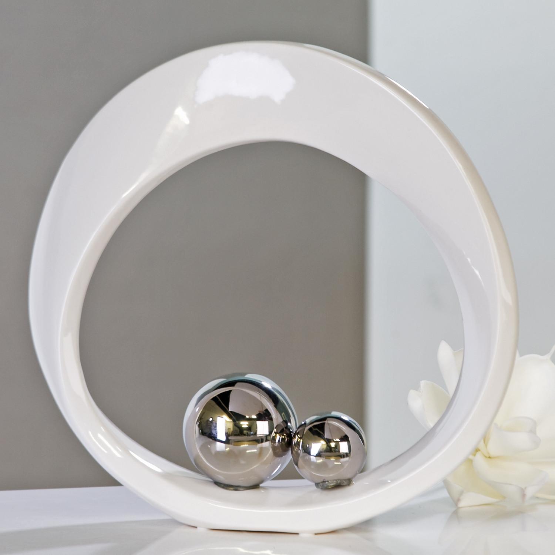 casablanca skulptur spin weiss silber aus keramik 32 cm. Black Bedroom Furniture Sets. Home Design Ideas