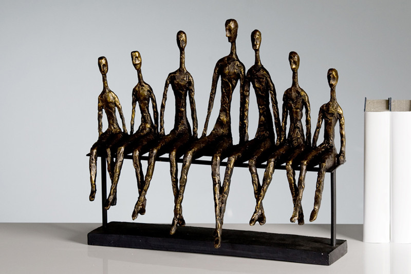 Casablanca Skulptur Community Menschengruppe Auf Einer Bank