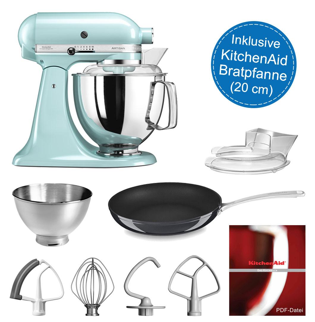 KitchenAid Artisan Küchenmaschine 4,8l eisblau im Swt mit 20-cm Bratpfanne