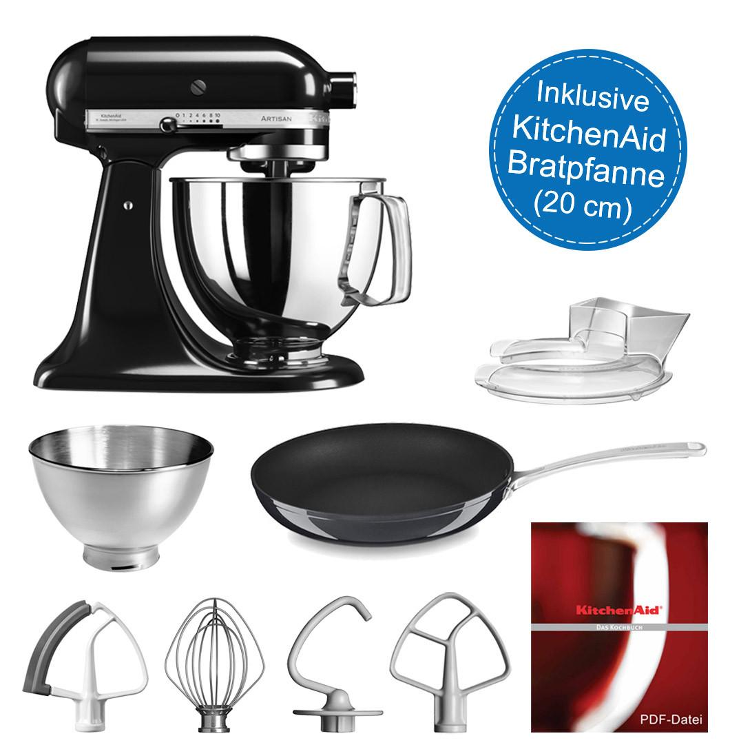 KitchenAid Artisan Küchenmaschine 175PS onyx schwarz 4,8 Liter inkl. Bratpfanne 20 cm