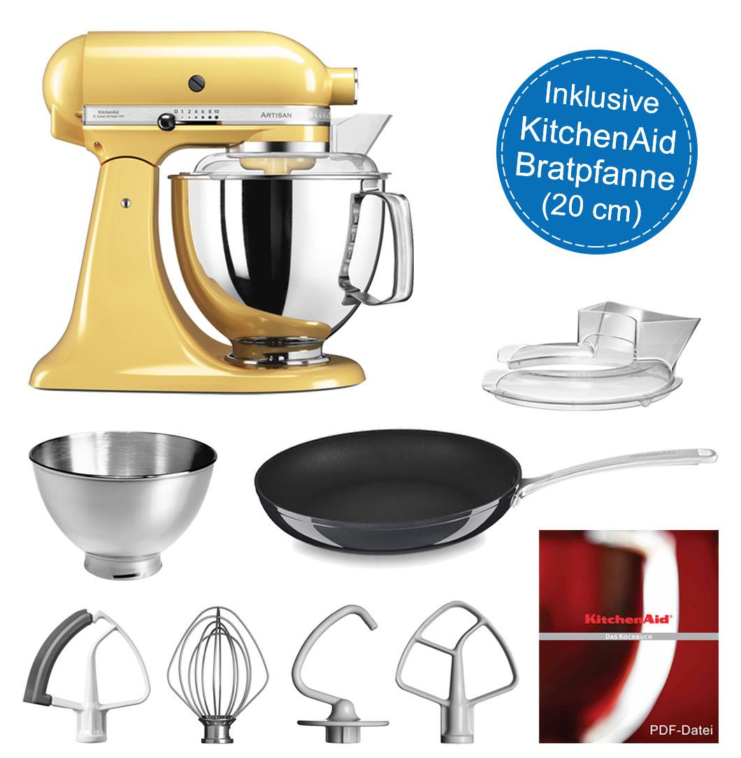 KitchenAid Artisan Küchenmaschine 4,8l pastellgelb mit Bratpfanne