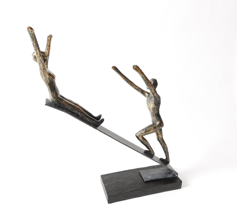 "Lebensbejahende Skulptur ""Joy"" aus Polystone und Metall"