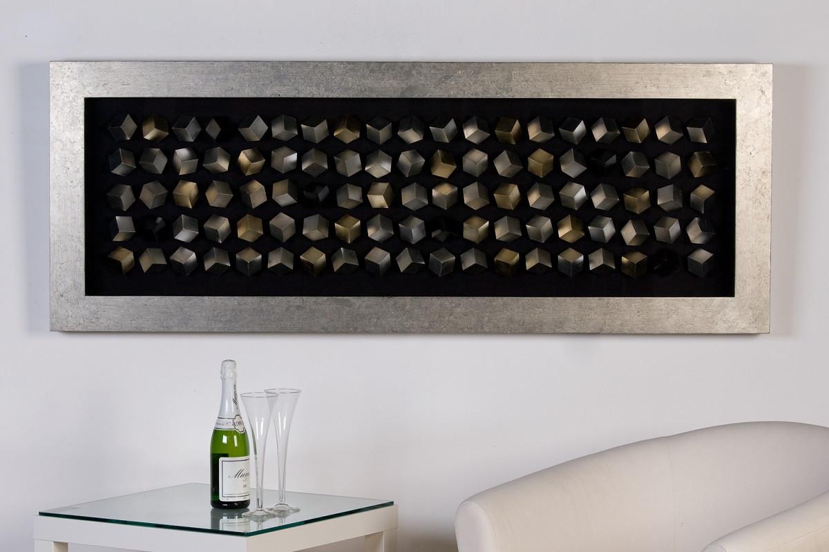Casablanca Bild Cubes Holz mit silbernem Rahmen 160 x 60 cm