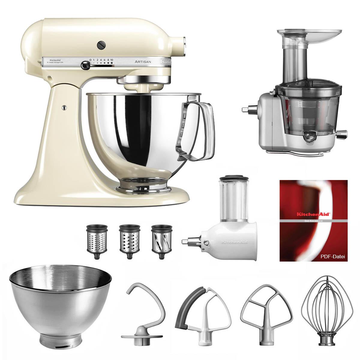 KitchenAid Küchenmaschine 175PS Entsafter Vital-Set creme/mandel