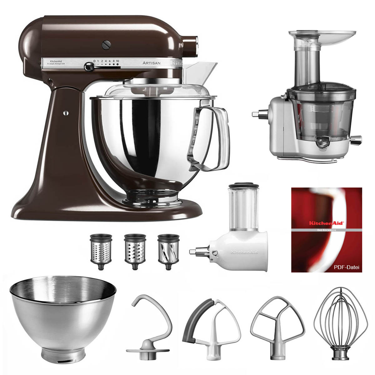 KitchenAid Küchenmaschine 175PS Entsafter Vital-Set espresso