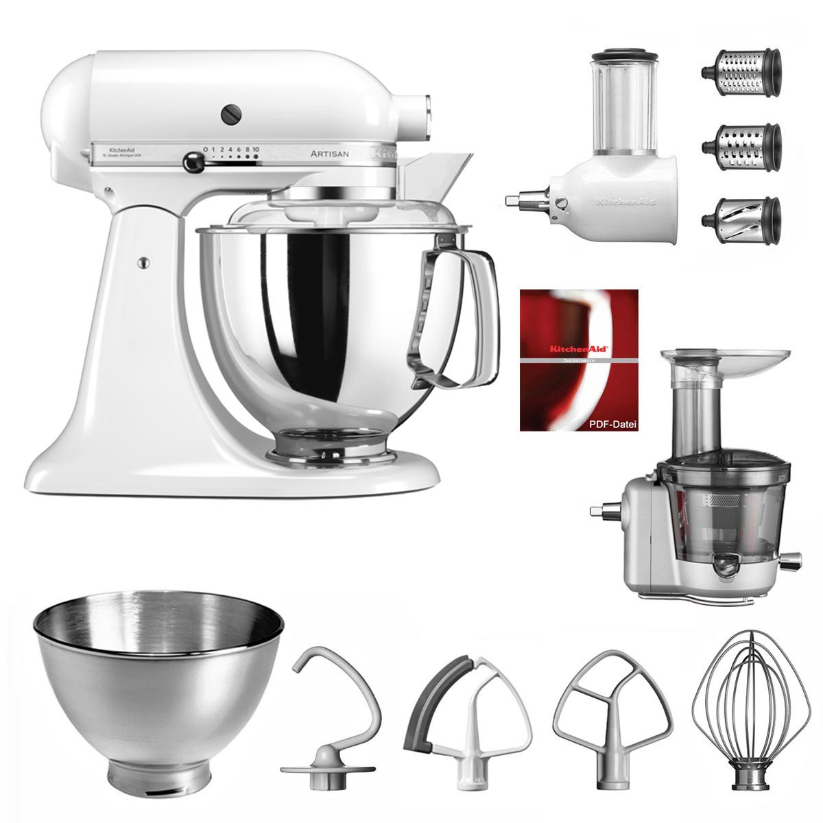 KitchenAid Küchenmaschine 175PS Entsafter Vital-Set weiss