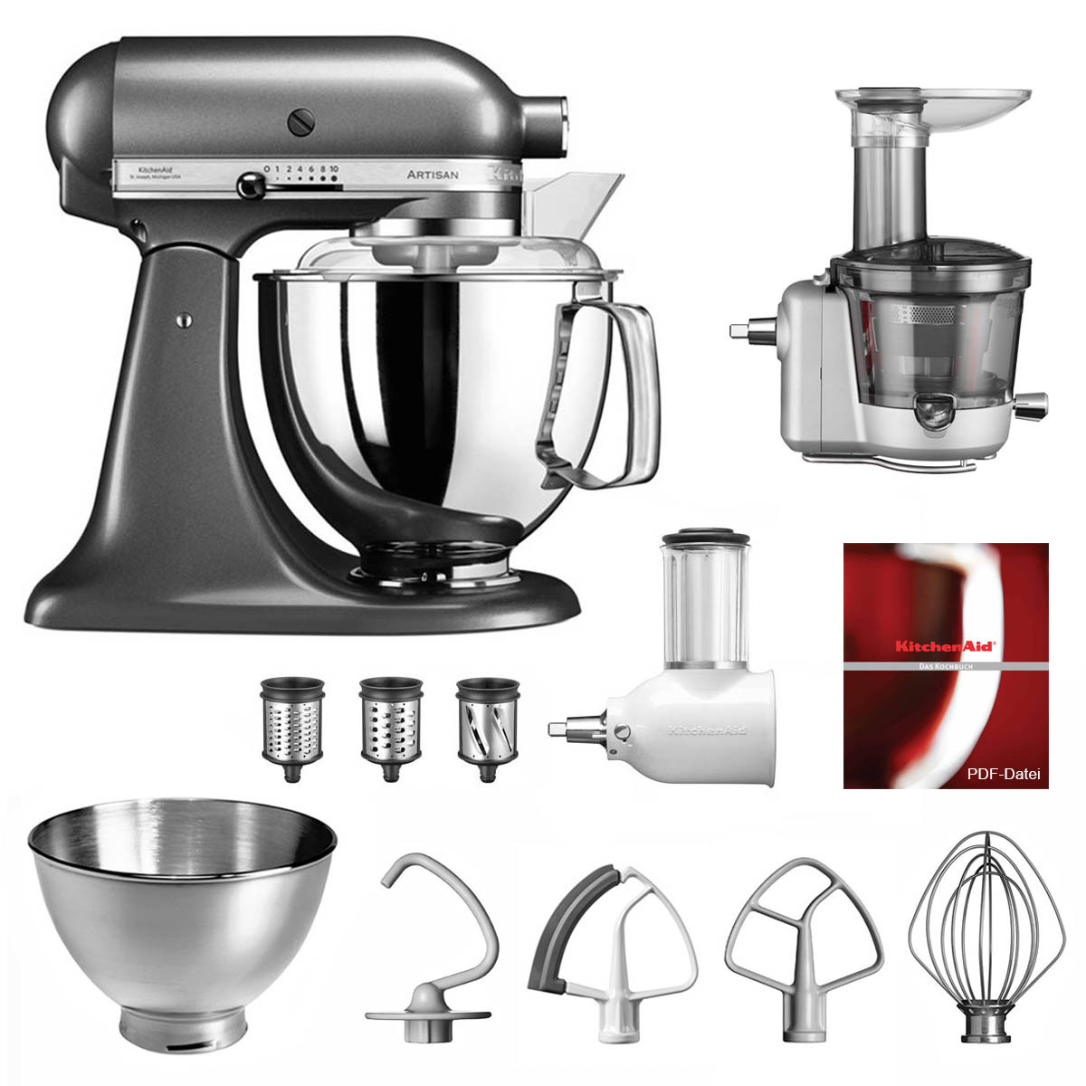 KitchenAid Küchenmaschine 175PS Entsafter Vital-Set medallion silber