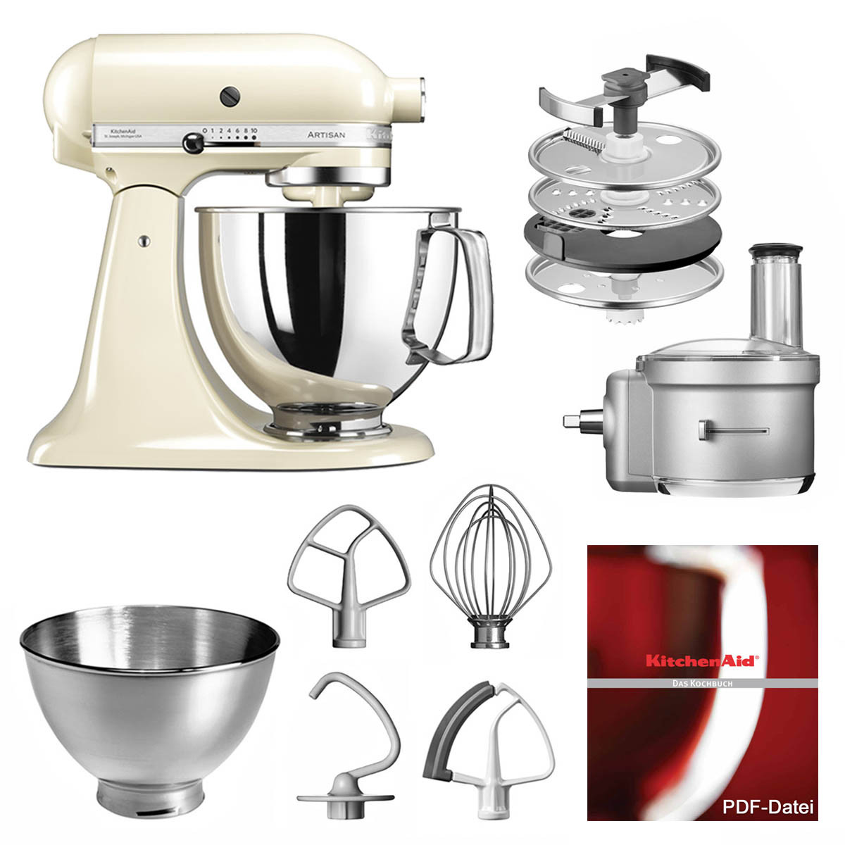 KitchenAid Küchenmaschine 175PS Foodprocessor Set mandel