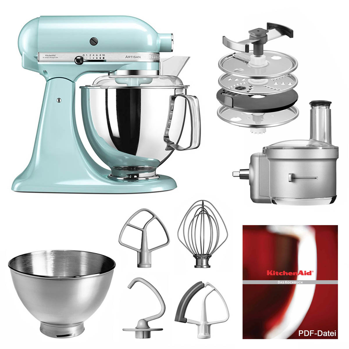 Foooodprocessor Set mit KitchenAid Küchenmaschine in Eisblau