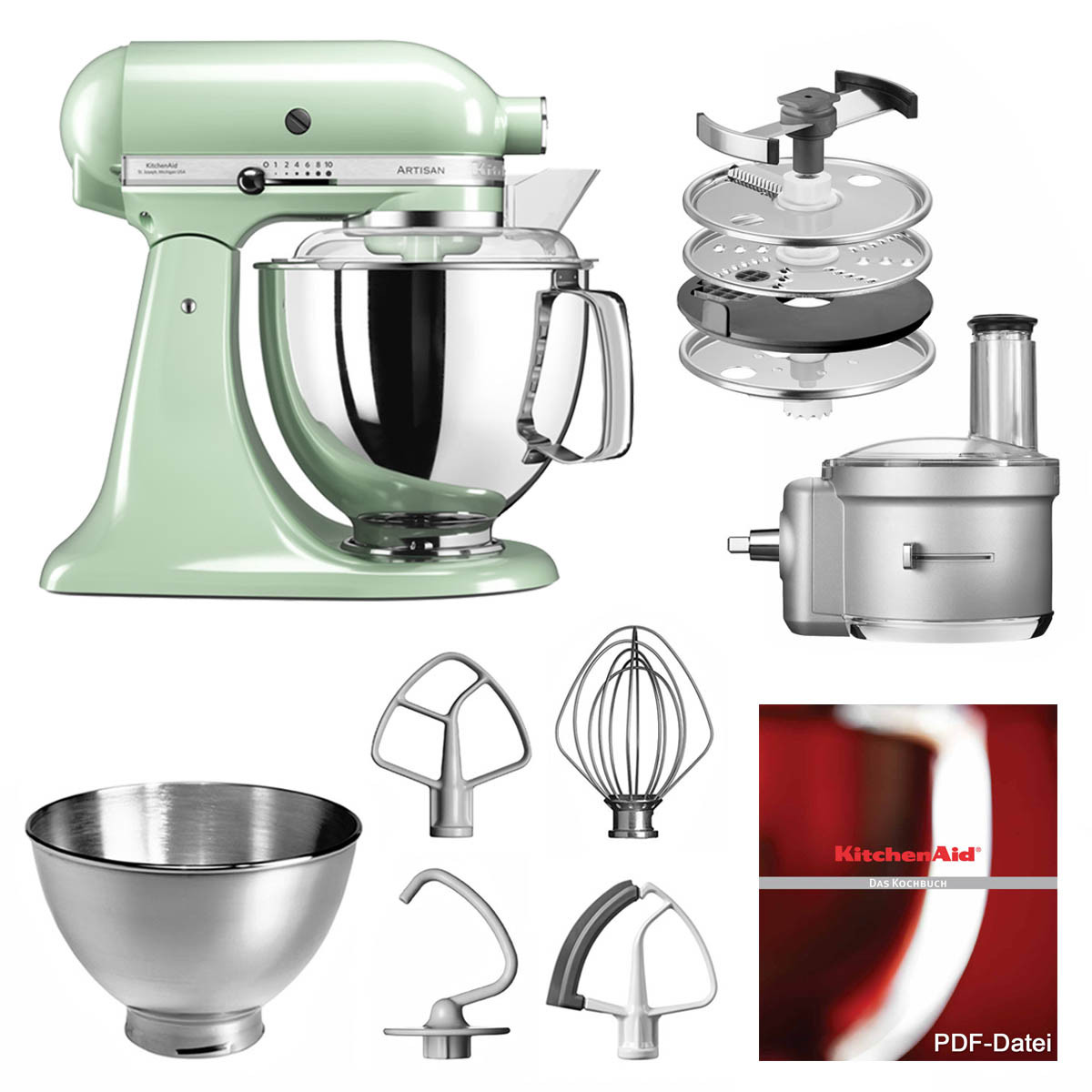 KitchenAid Küchenmaschine 175PS Foodprocessor Set pistazie