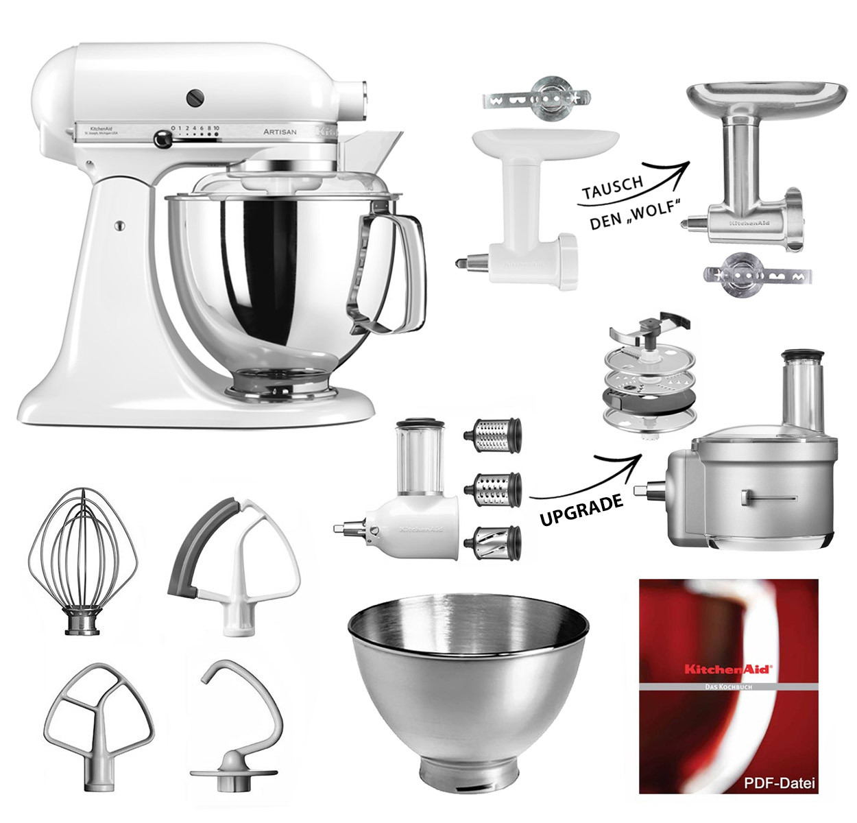 KitchenAid Artisan Küchenmaschine 4,8l weiß mit 5KSMFGA oder Tausch zu 5KSMMGA