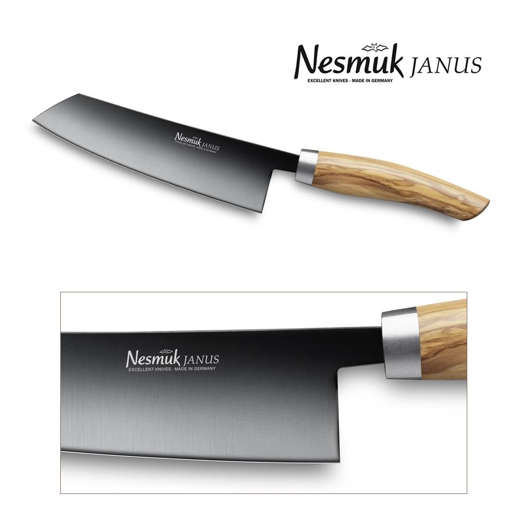 NESMUK JANUS Kochmesser 140 Olivenholz - Detail Klinge