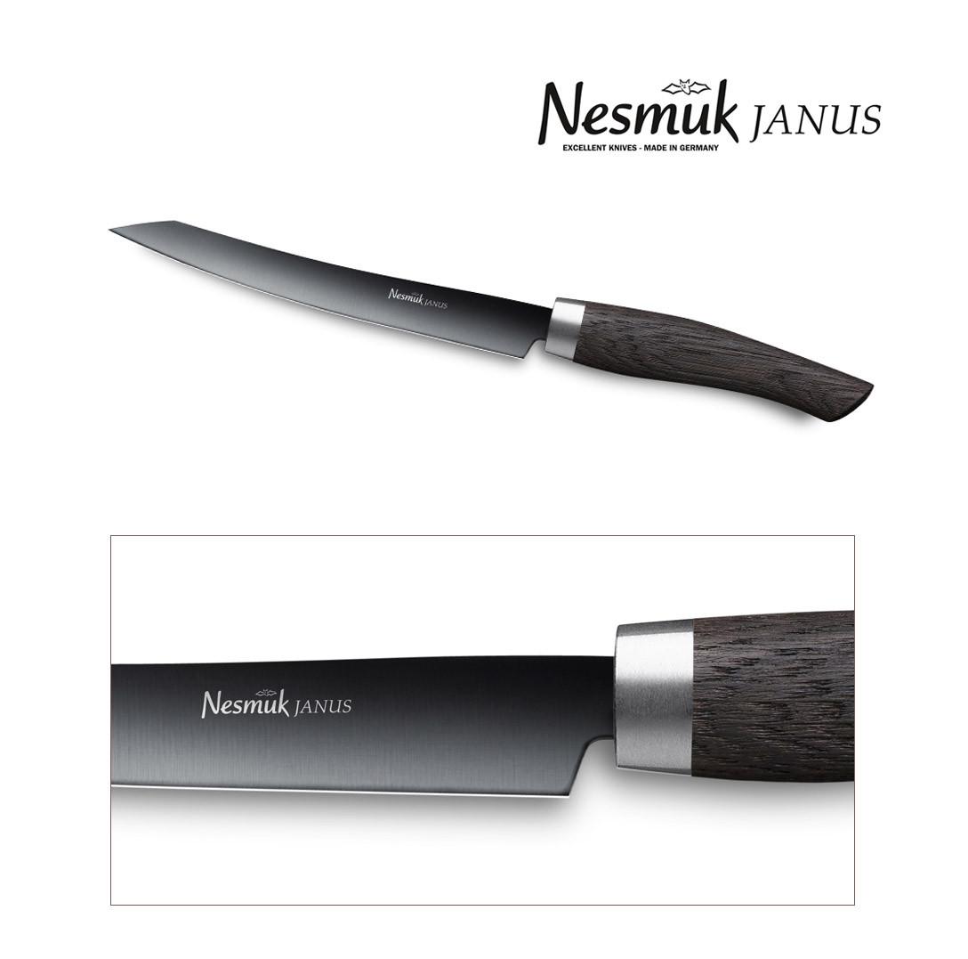 NESMUK Janus Slicer 160-mm Klinge mit Griff aus Mooreiche - Detail