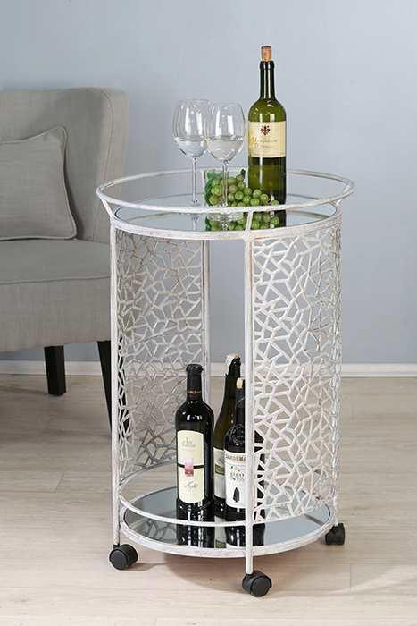 Servierwagen Sisley Metall/Glas antik gewischt Höhe 76 cm