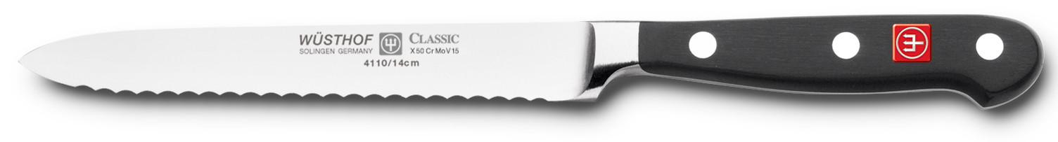 Wüsthof Dreizack Classic Aufschnittmesser mit Wellenschliff 14cm