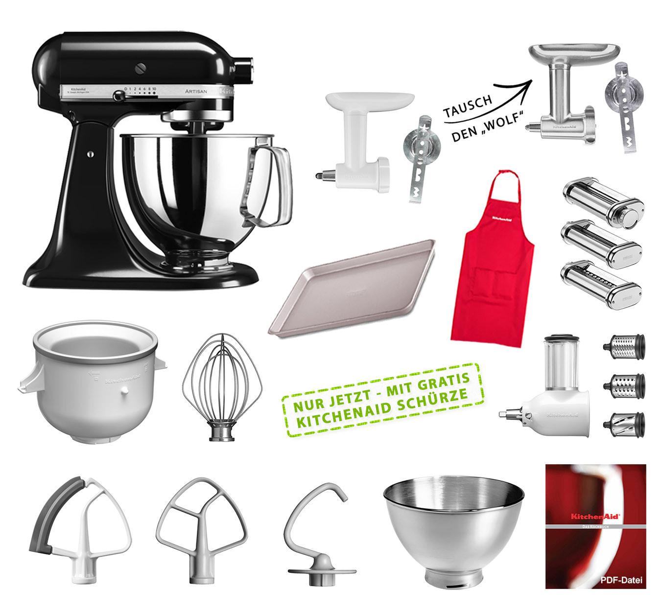 KitchenAid Küchenmaschine 175PS Mega-Paket onyx schwarz suhl-shop