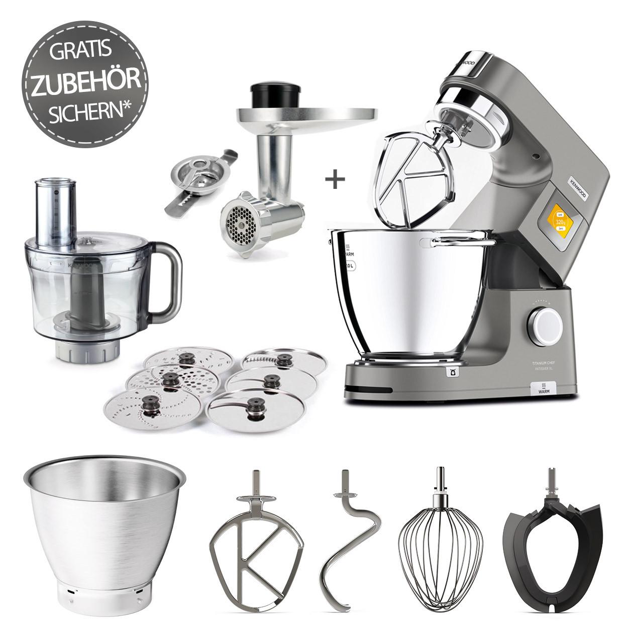 Kenwood Küchenmaschine Titanium Chef PatissierXL KWL90.244SI mit GRATIS-Fleischwolf