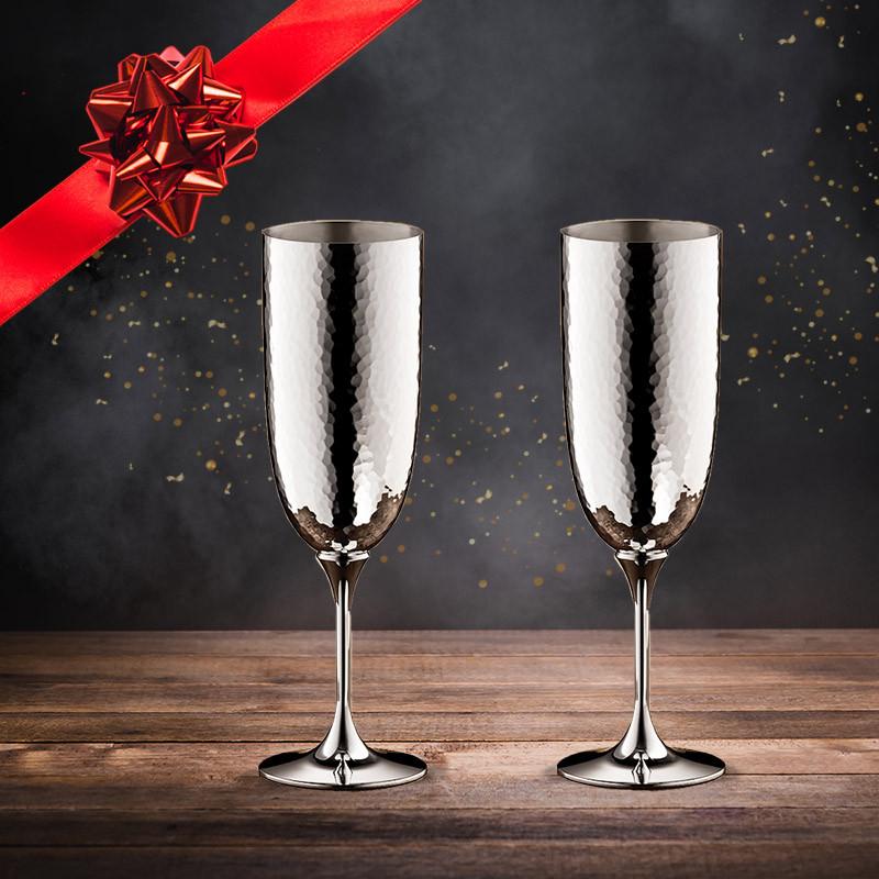 Robbe & Berking Martelé Champagnerkelch 2-er Weihnachtsset