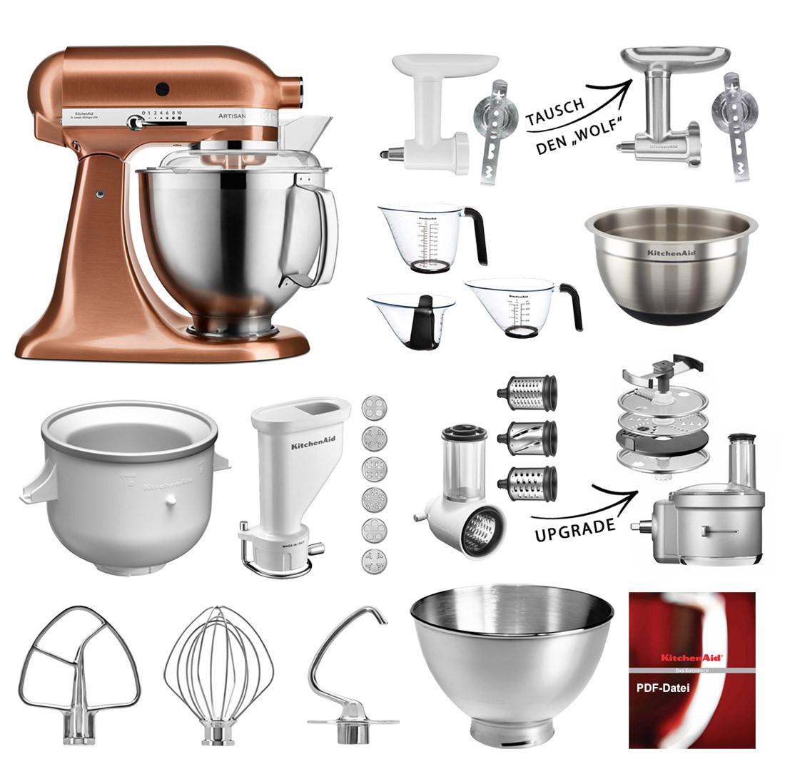 KitchenAid Küchenmaschine 185PS Mega-Sommer Set Kupfer