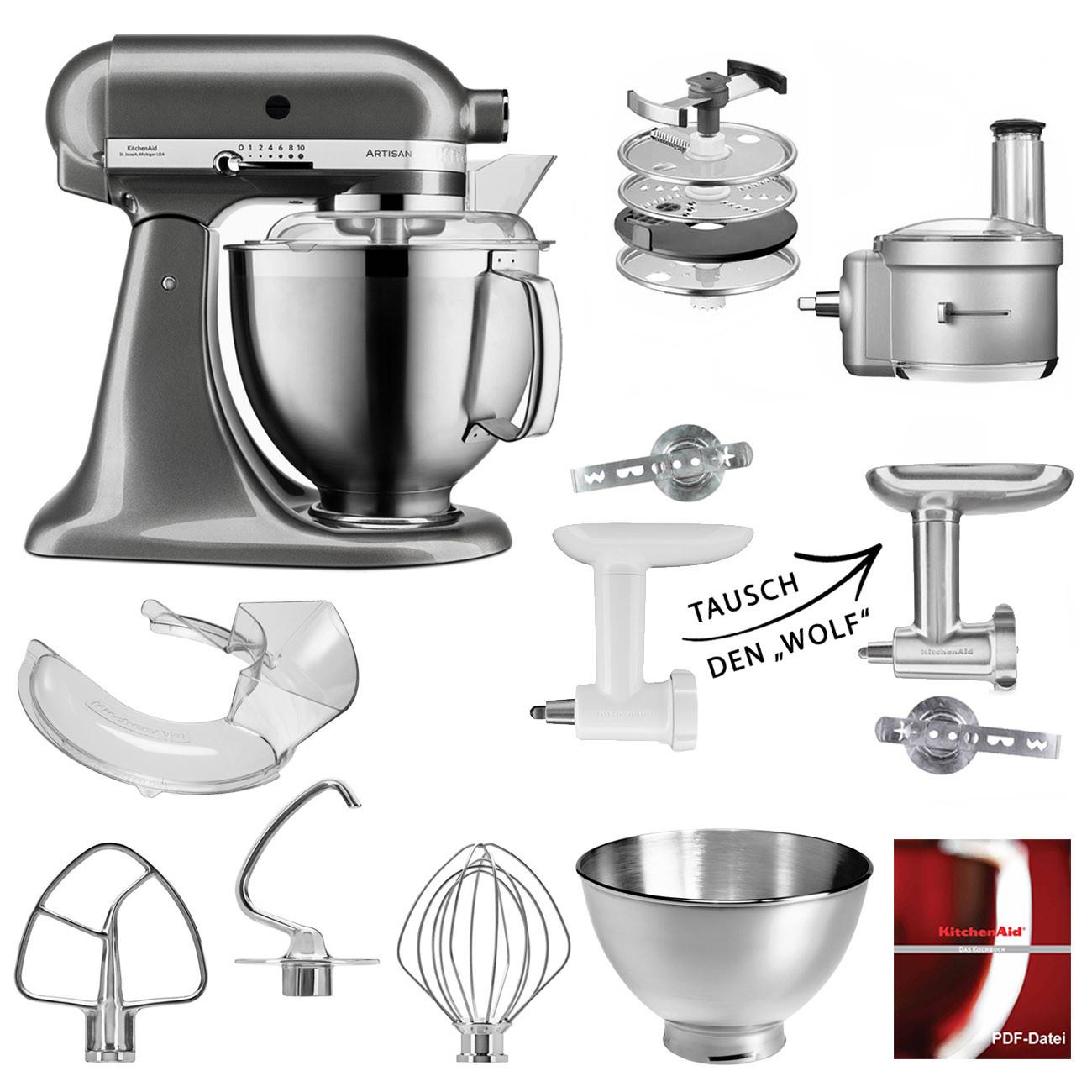 5KSM185PS PP KitchenAid Küchenmaschinen-Set mit Foodprocessor und Fleischwolf medallionsilber