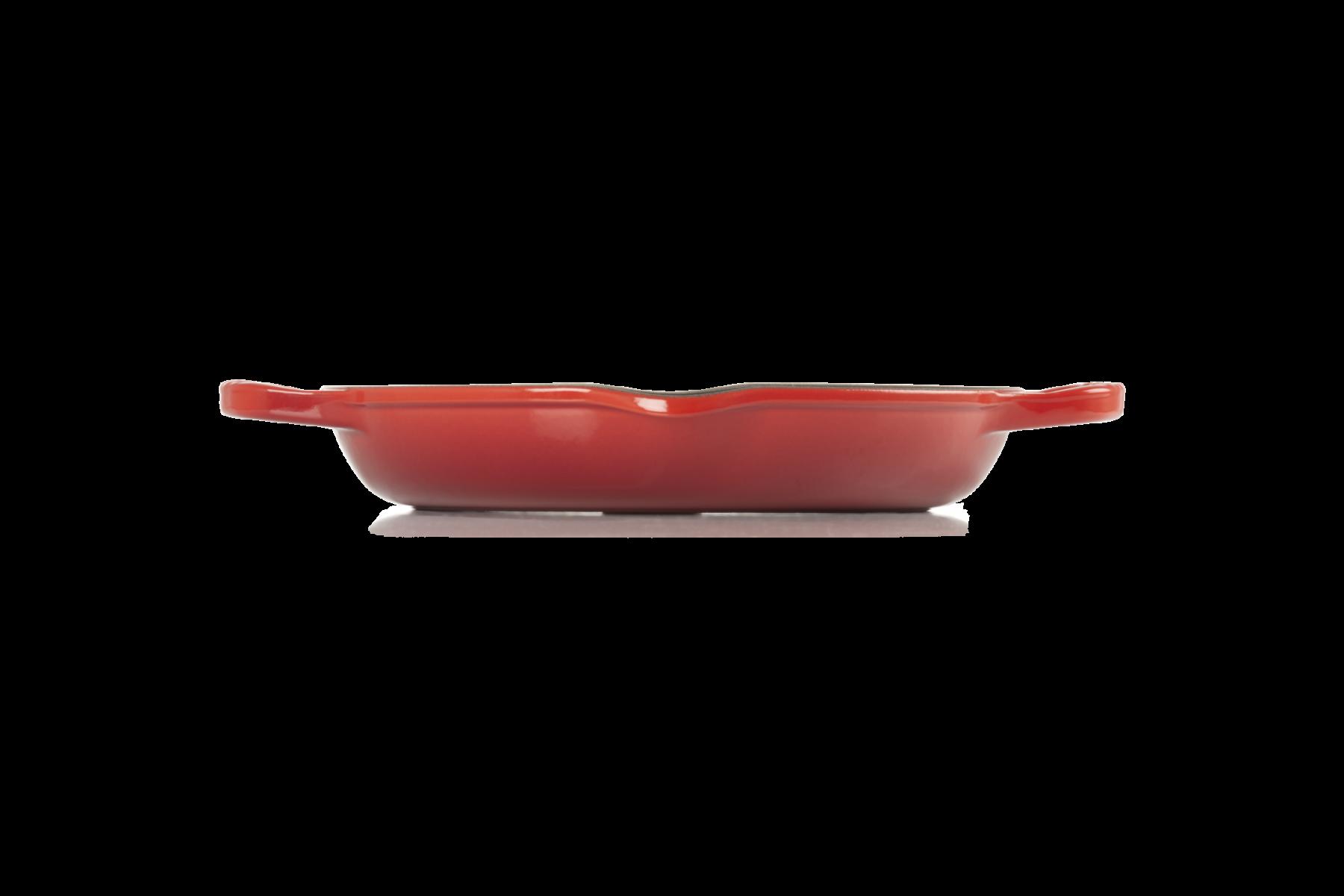 Le Creuset Signature Grillpfanne rund mit zwei Griffen 25 cm Kirschrot seitlich