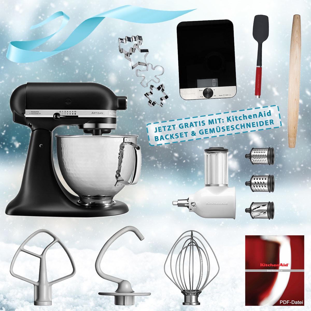 KitchenAid Artisan Küchenmaschine matt schwarz 5KSM156HMEBM + 5KSMVSA