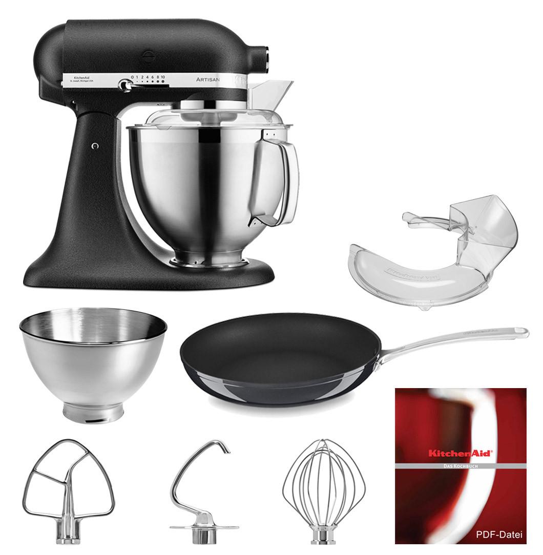 KitchenAid Küchenmaschine 5KSM185PS gusseisen schwarz mit 30-cm Pfanne