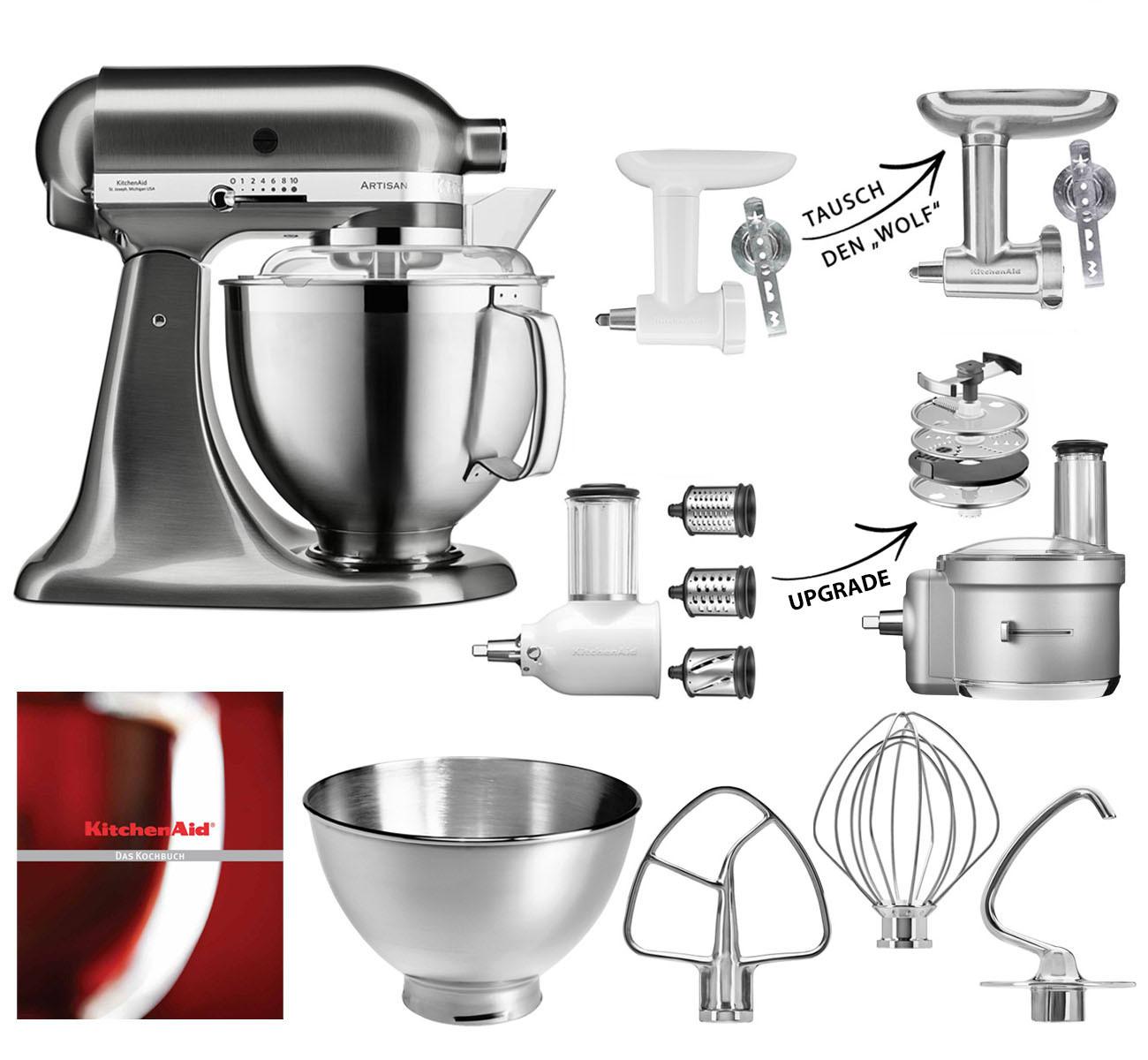 KitchenAid Küchenmaschine 185PS Fleischwolf Gemüse Set Metall gebürstet