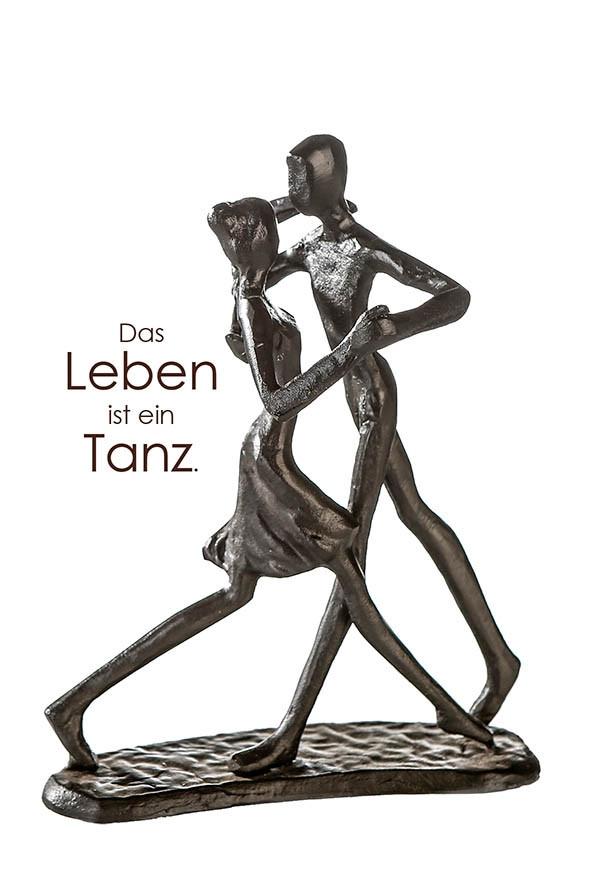 """Casablanca Design Skulptur """"Dancing"""" Eisen, brüniert mit Motivspruch"""
