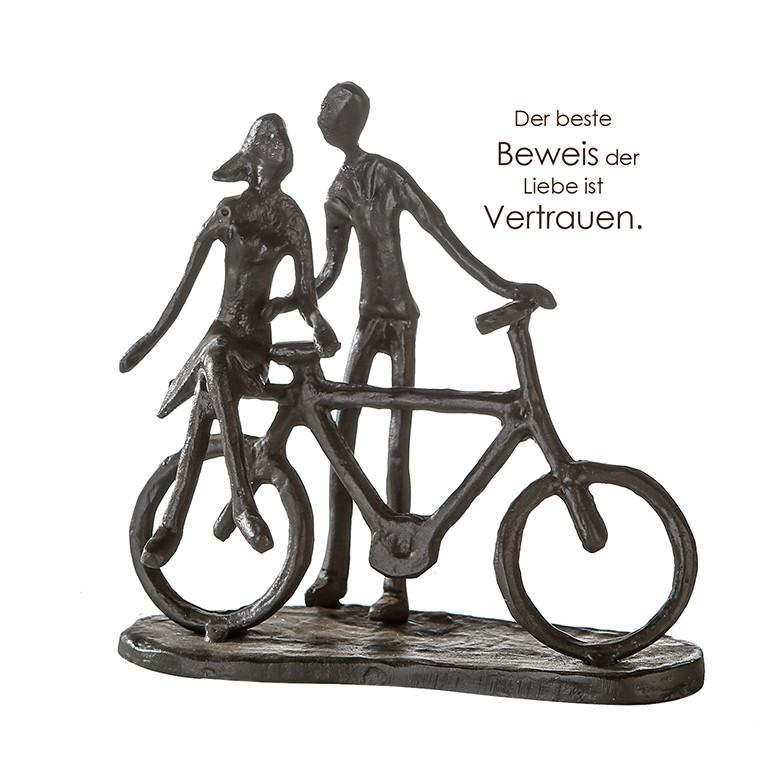 """Casablanca Design Skulptur """"Pair on Bike"""" Eisen mit Motivspruch"""