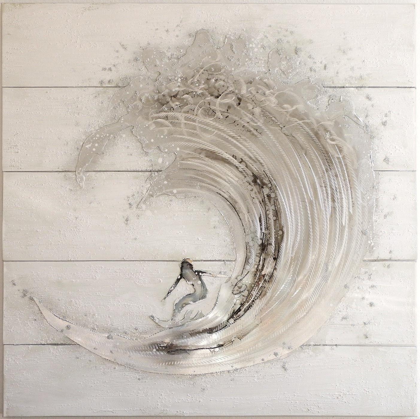"Casablanca Ölbild ""Surfer"" 100 x 100 cm - weiß/grau/silber"