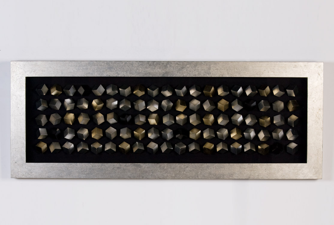 Casablanca Design Cubes - Bild aus Samt/Glas/Holz mit silbernem Rahmen