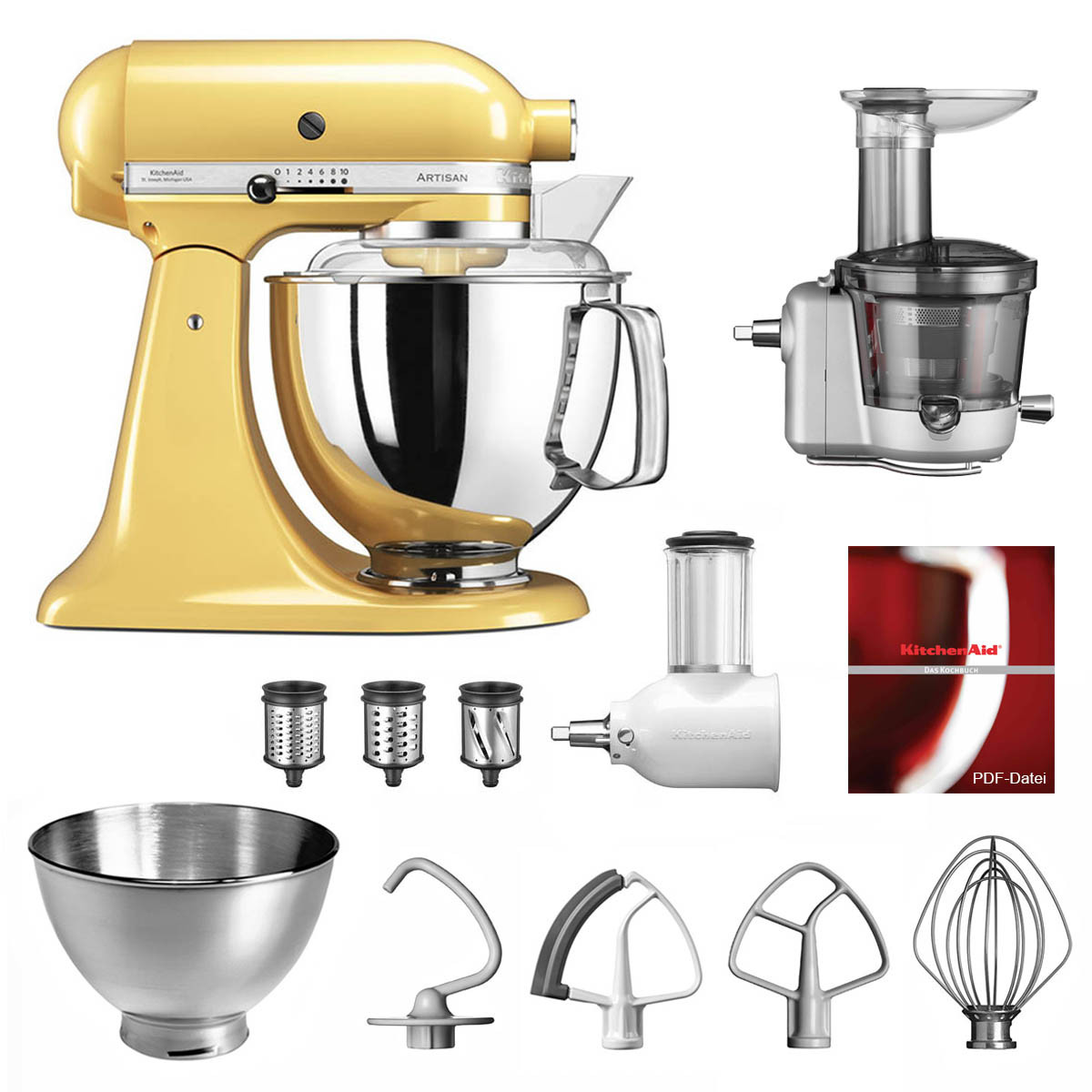 KitchenAid Küchenmaschine 175PS Entsafter Vital-Set pastellgelb