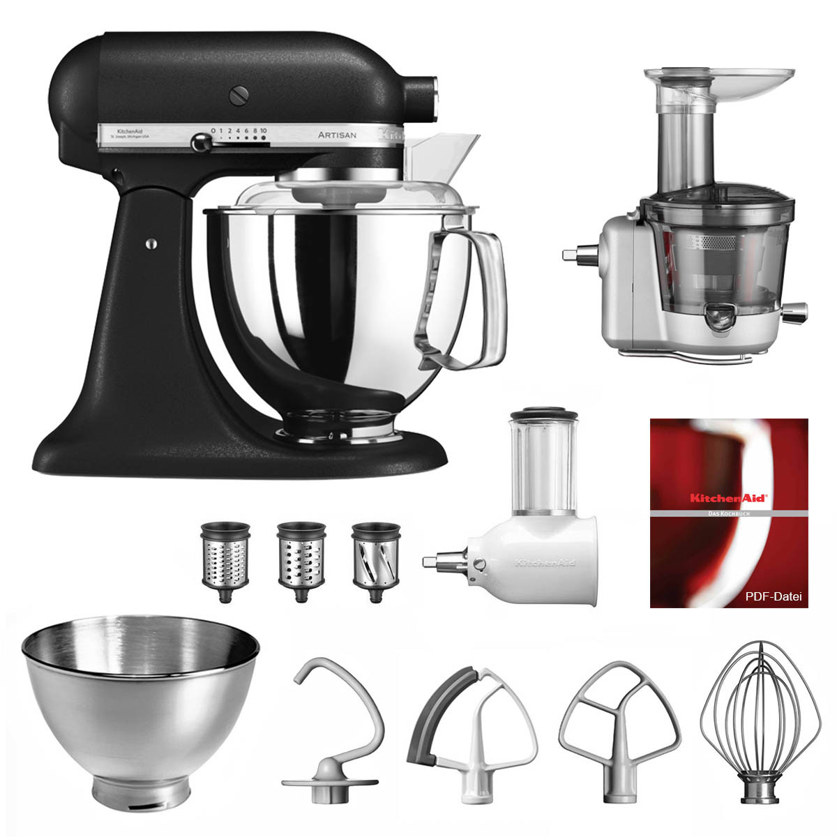 KitchenAid Küchenmaschine 175PS Entsafter Vital-Set Gusseisen