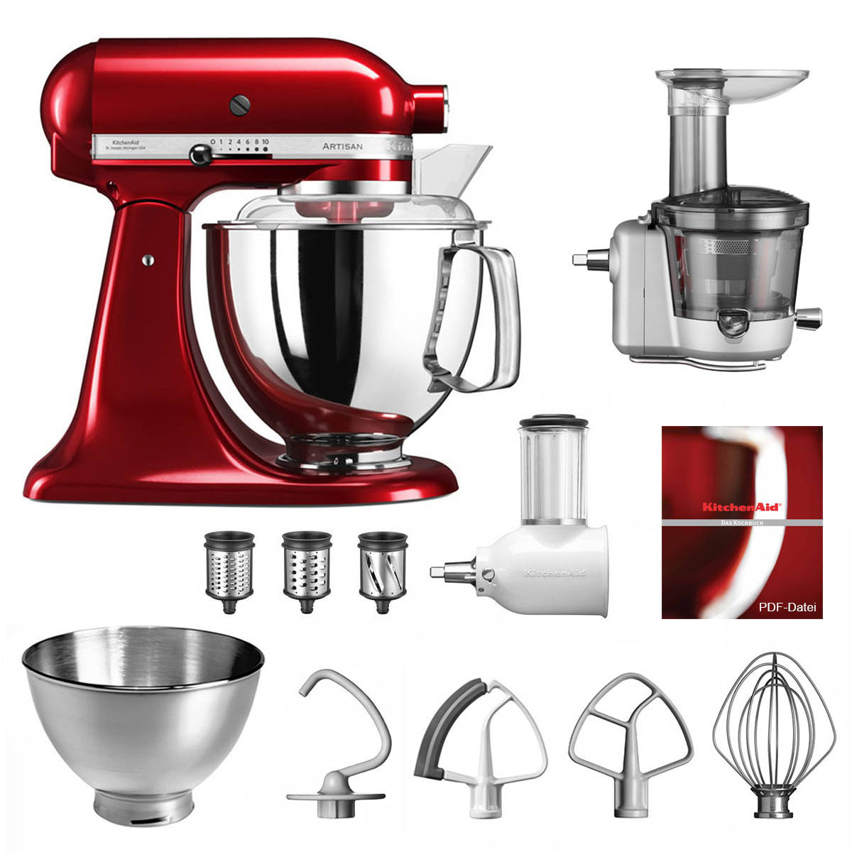 KitchenAid Artisan Küchenmaschine 5KSM175PS Entsafter Vital-Set