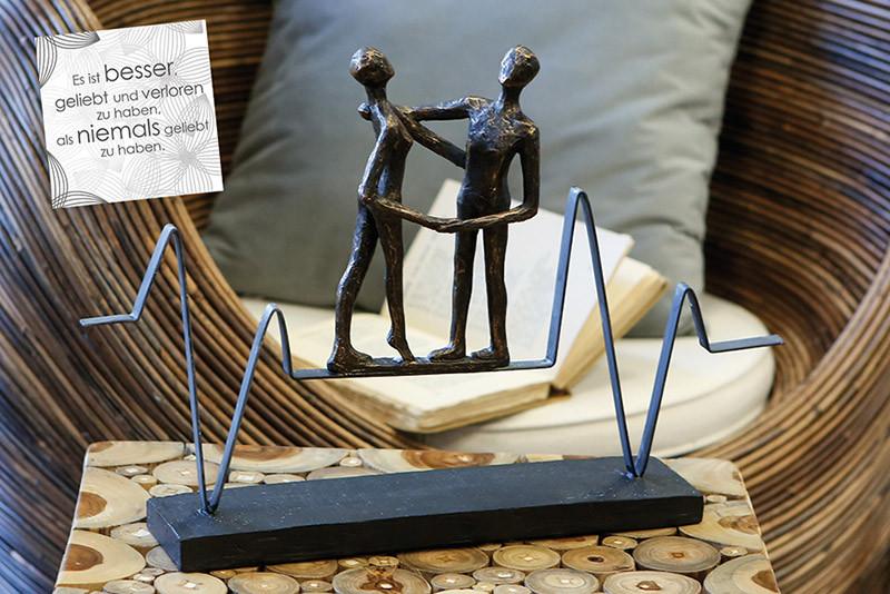 """Casablanca Skulptur """"Heartbeat"""" Poly/Metall auf schwarzer Base"""
