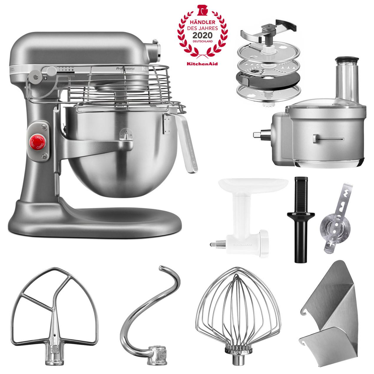 KitchenAid Artisan Küchenmaschine 6,9l PROFESSIONAL silber 5KSM7990XESL + Foodproc. + Fleischwolf