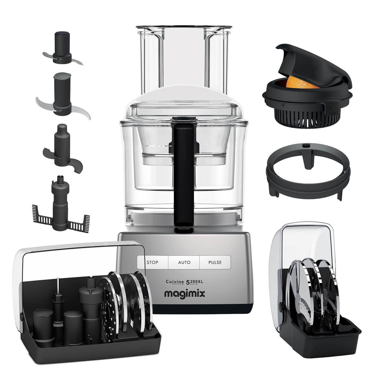 Magimix Küchenmaschine 5200XL chrom matt inkl. Kreative Küchen-Set