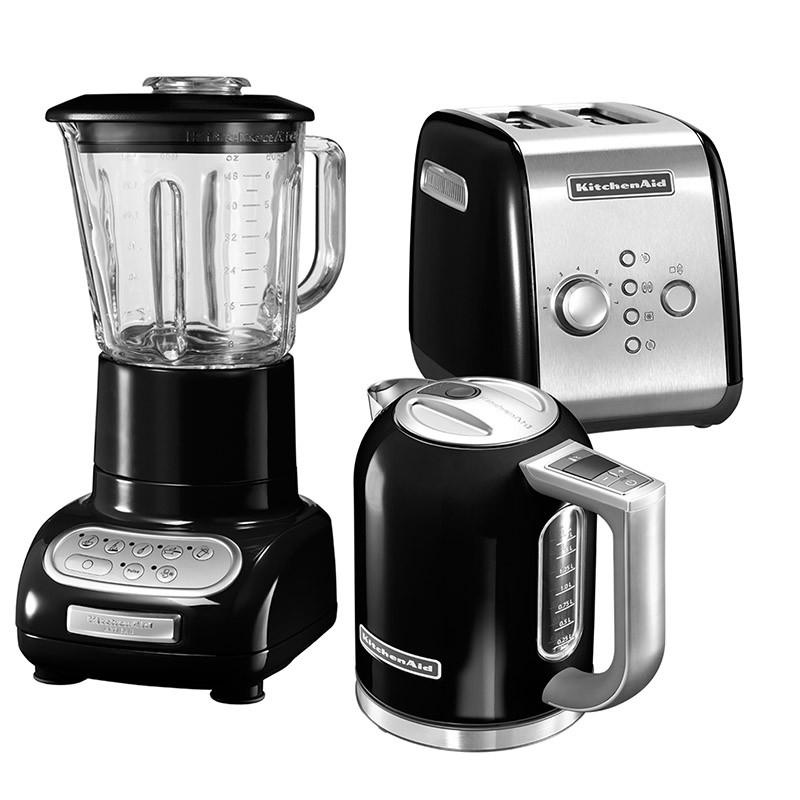 KitchenAid Set Wasserkocher + Toaster + Standmixer Onyx Schwarz