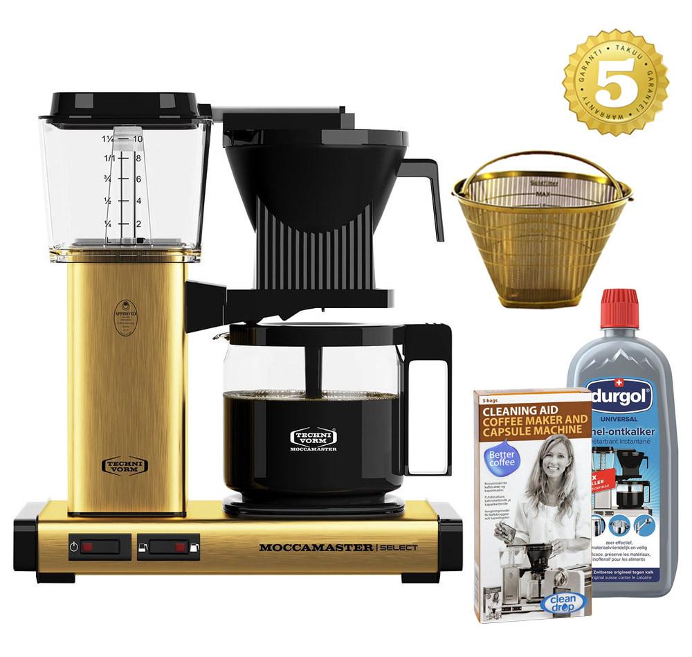 Moccamaster Kaffeemaschine KBG Select Messing gebürstet mit Zubehör