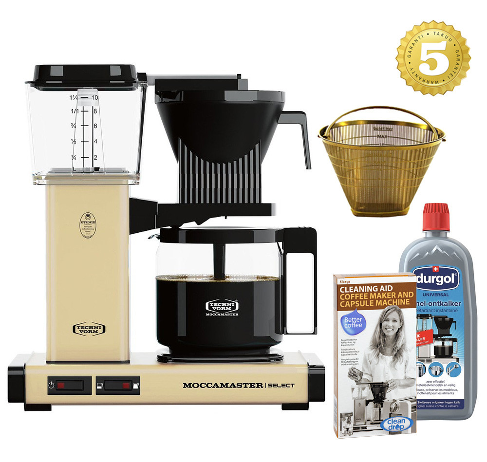 Moccamaster Kaffeemaschine KBG Select Pastellgelb Aktionspaket
