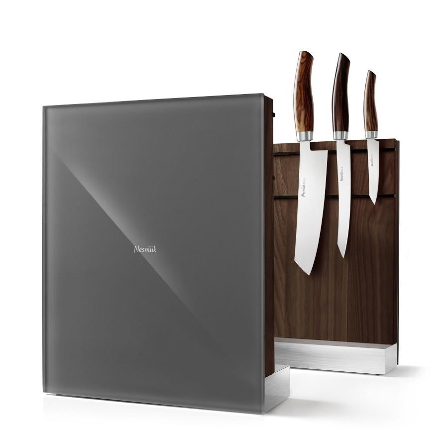 Nesmuk Messerhalter Messerblock magnetisch Walnuss Maser grau