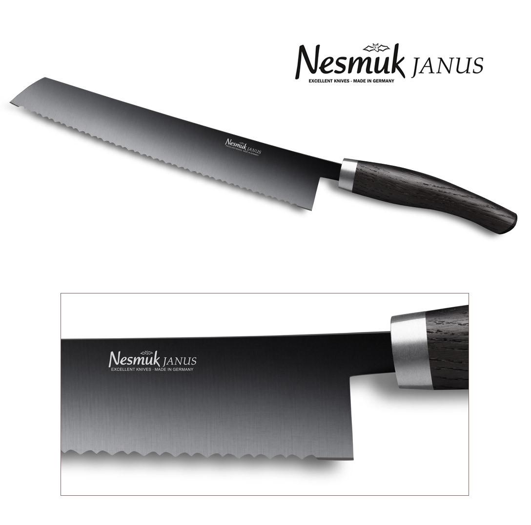 NESMUK JANUS Brotmesser 270-mm Klinge (Wellenschliff) dunkle Mooreiche - Detail