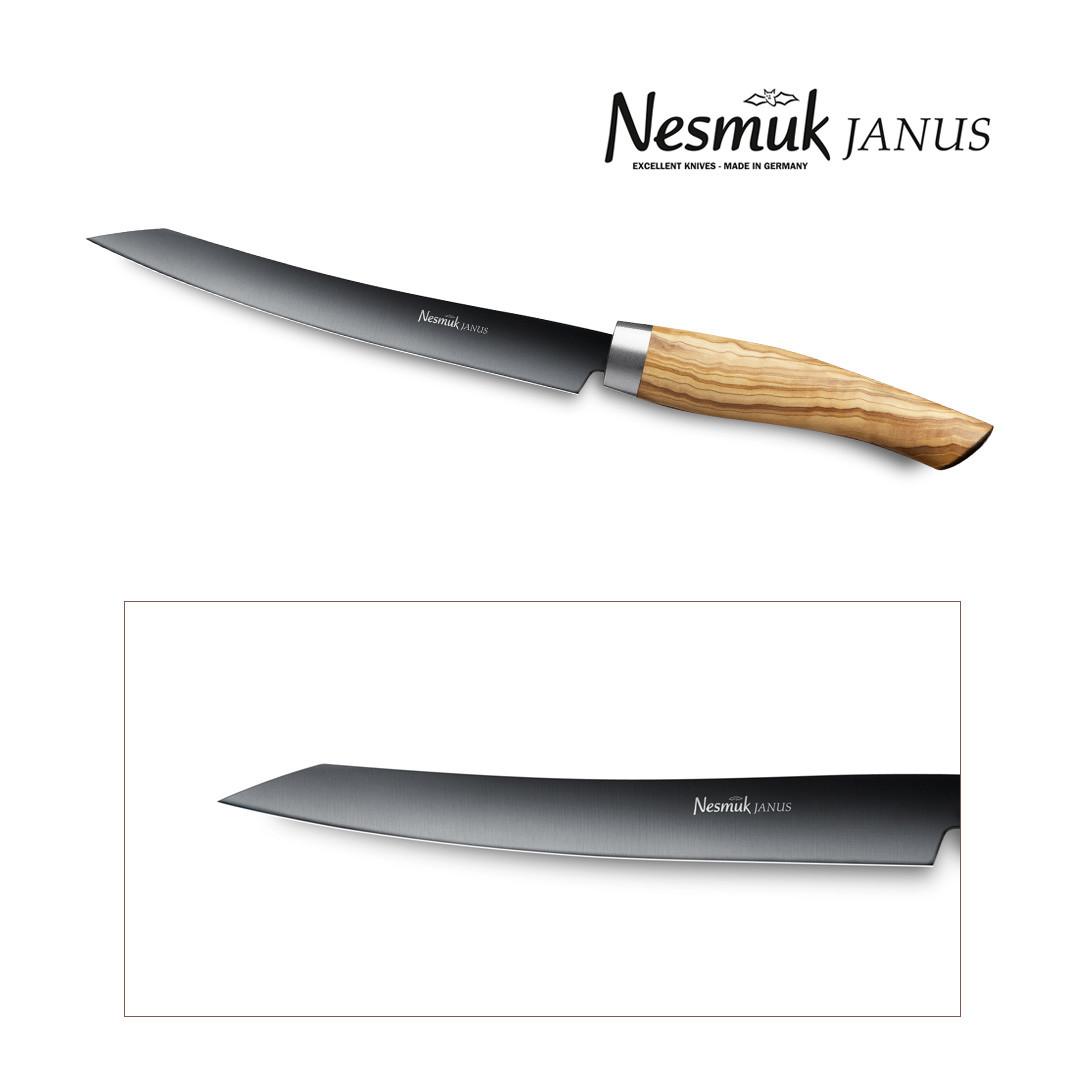 NESMUK Janus Slicer 160-mm Klinge mit Griff aus Olivenholz
