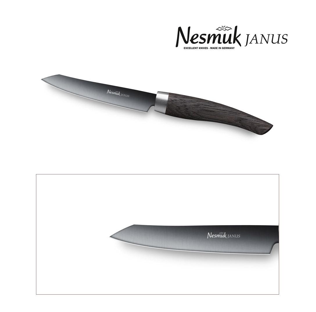 NESMUK Janus Gemüsemesser Office 90-mm Klinge mit Griff aus Mooreiche